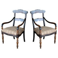 Danish Early 20th Century Country Style Armchairs in Stained Oak
