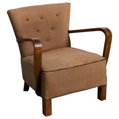 Danish Early Midcentury or Art Deco Low Lounge Chair in Mahogany, 1940s