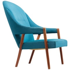 Danish Easy Chair in Blue Upholstery