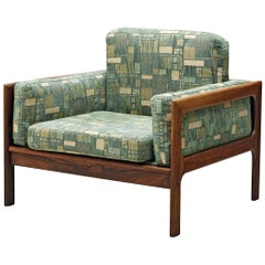 Danish Easy Chair in Green Patterned Upholstery