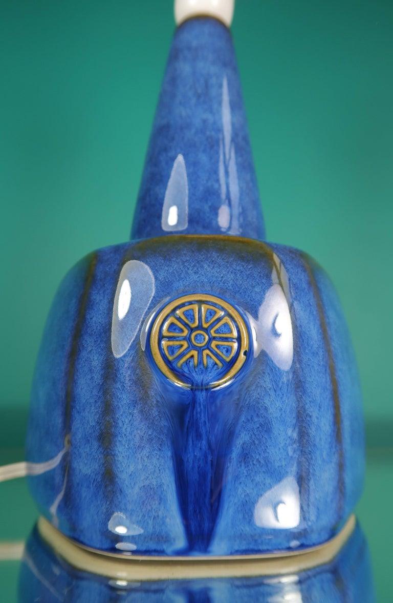 Mid-Century Modern Danish Einar Johansen Shiny Blue Stoneware Table Lamp by Søholm, 1960s For Sale