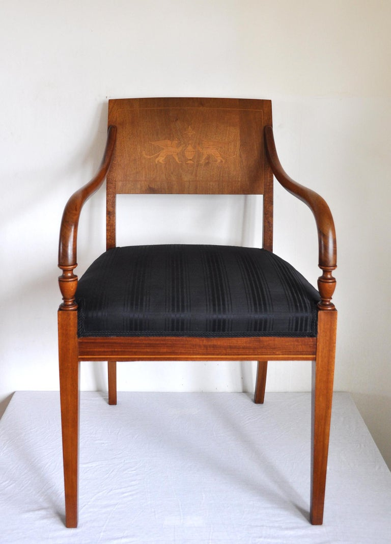 Elegant classic Danish Empire armchair in mahogany with inlays of two Griffins made of birch. New upholstery with Horsehair fabric woven by British John Boyd Textiles Ltd. Early 19th century.  Excellent condition, with minor signs of