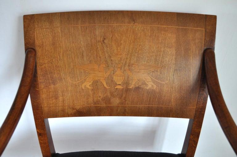 Danish Empire Armchair in Mahogany with Birch Inlays 1