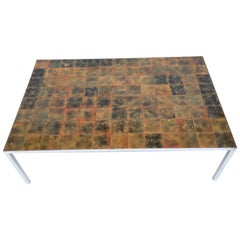 Danish Enameled Copper Tile Coffee Table