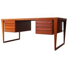 Danish Executive Desk Model 70 by Kai Kristiansen for Feldballes 1950s in Teak