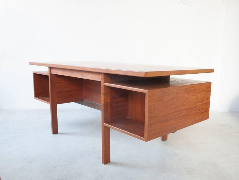 Scandinavian Modern Danish Executive Freestanding Desk in Teak Designed in 1962 For Sale