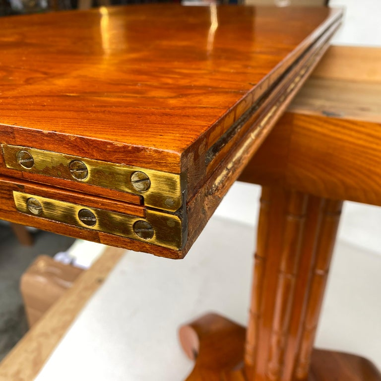 Danish Faux Bamboo Biedermeier Game Table For Sale 11