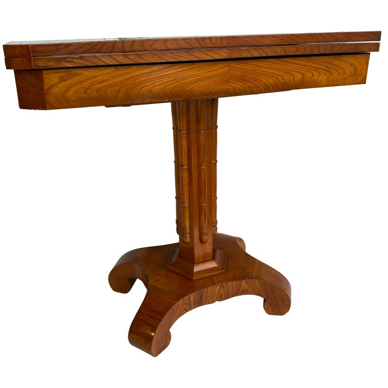 Danish faux bamboo Biedermeier game table.  Table has a flip-turn option, please see detailed images enclosed.