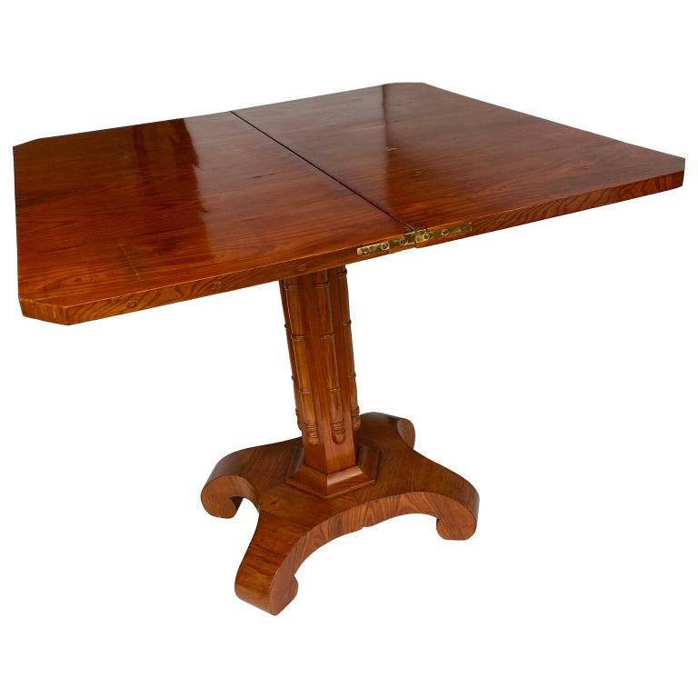 Birch Danish Faux Bamboo Biedermeier Game Table For Sale