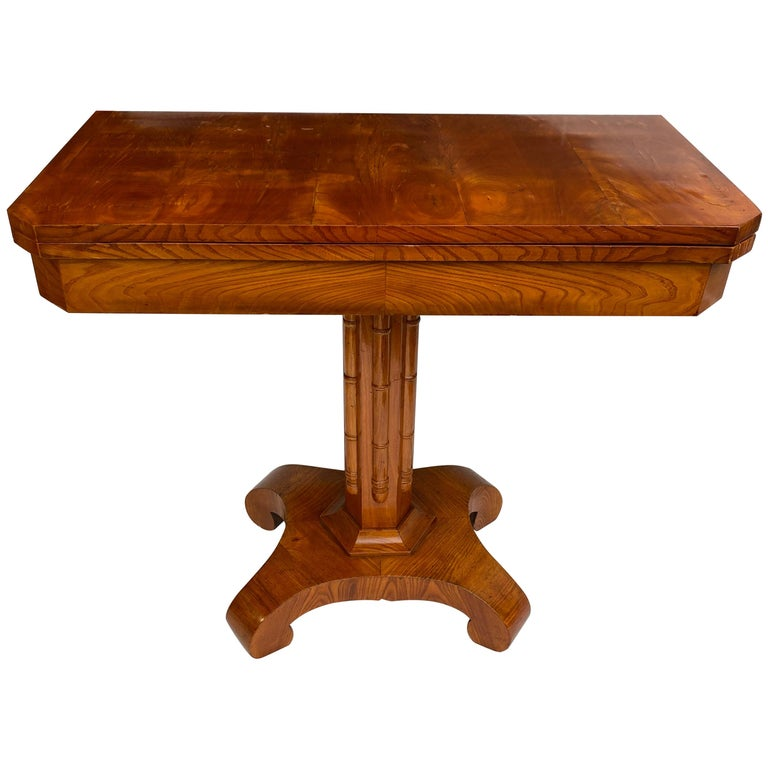 Danish Faux Bamboo Biedermeier Game Table For Sale