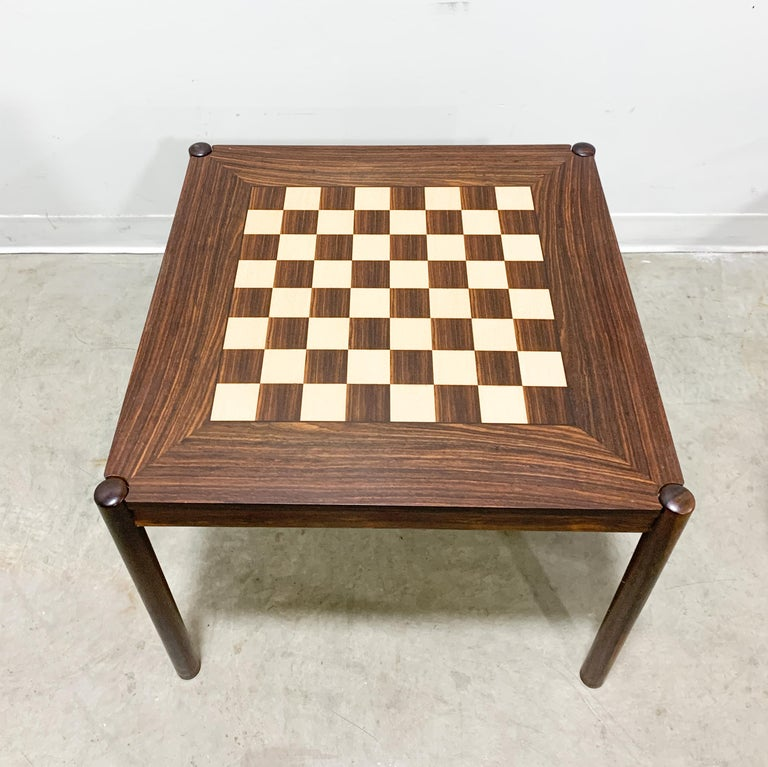 Mid-Century Modern Danish Flip Top Chess Table in Rosewood For Sale