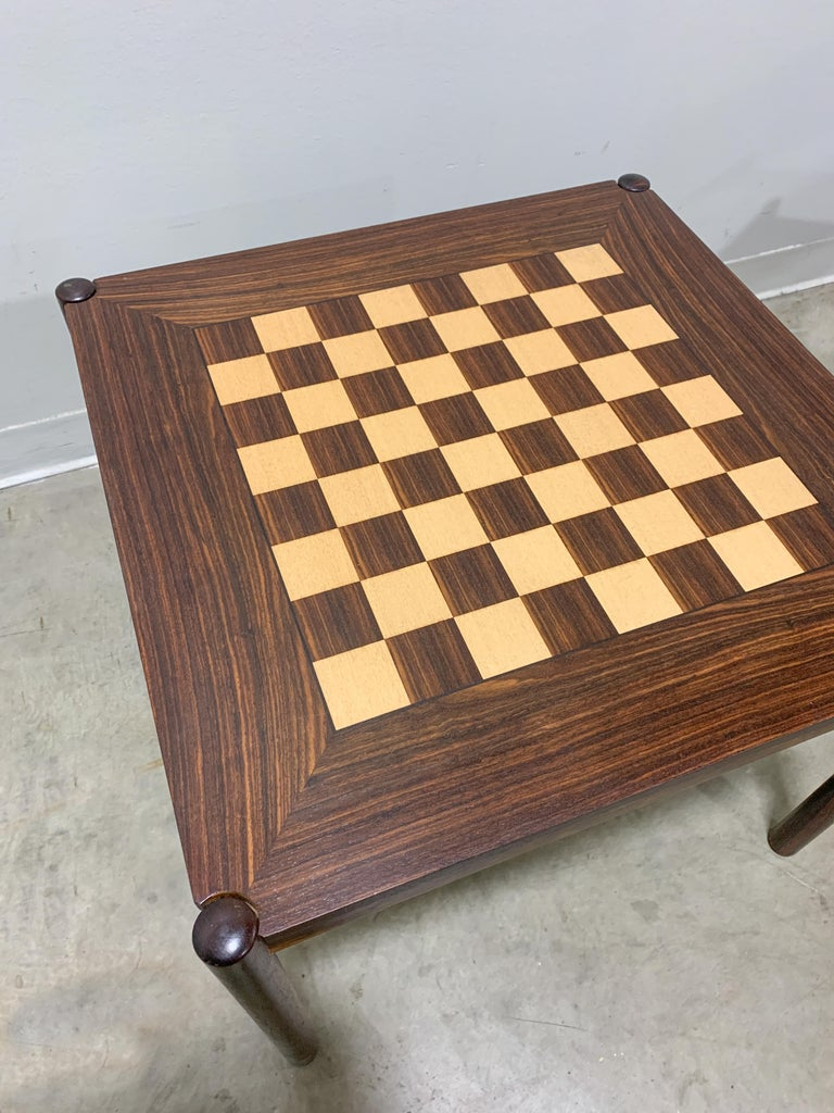 Danish Flip Top Chess Table in Rosewood For Sale 1