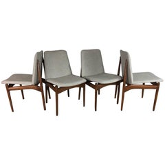Danish Floating Dining Chairs in Walnut
