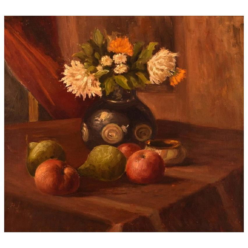 Danish Flower Painter, Oil on Canvas, Still Life with Flowers and Fruits