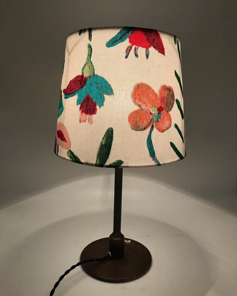 Danish Fog & Mørup table lamp in brass and topped with a beautiful lampshade from ArtbyMaj in the manner of Josef Frank. A lovely midcentury table lamp in Danish design and quality. Rewired and can be fitted with an EU or US plug.