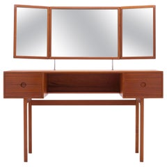 Danish Folding Mirror Vanity / Dressing Table by Kai Kristiansen, A. Kjersgaard