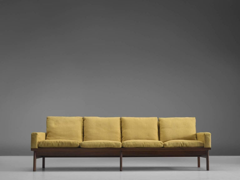 Scandinavian Modern Danish Four-Seat Sofa in Yellow Fabric For Sale