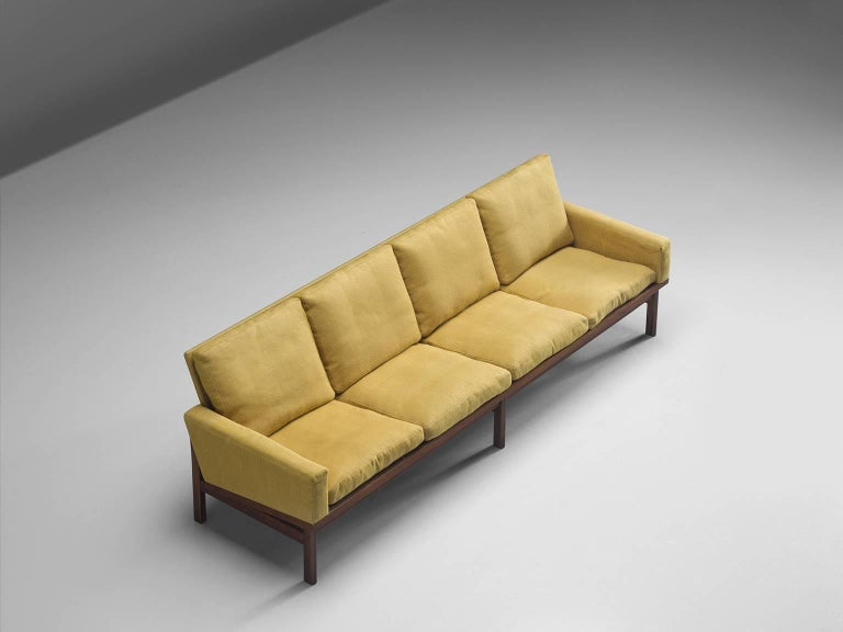 Danish Four-Seat Sofa in Yellow Fabric In Good Condition For Sale In Waalwijk, NL