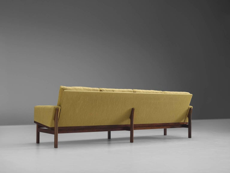 Mid-20th Century Danish Four-Seat Sofa in Yellow Fabric For Sale