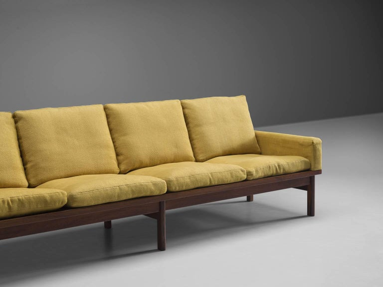 Danish Four-Seat Sofa in Yellow Fabric For Sale 1