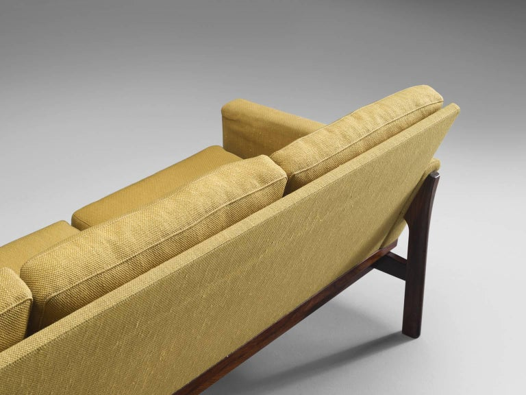 Danish Four-Seat Sofa in Yellow Fabric For Sale 2