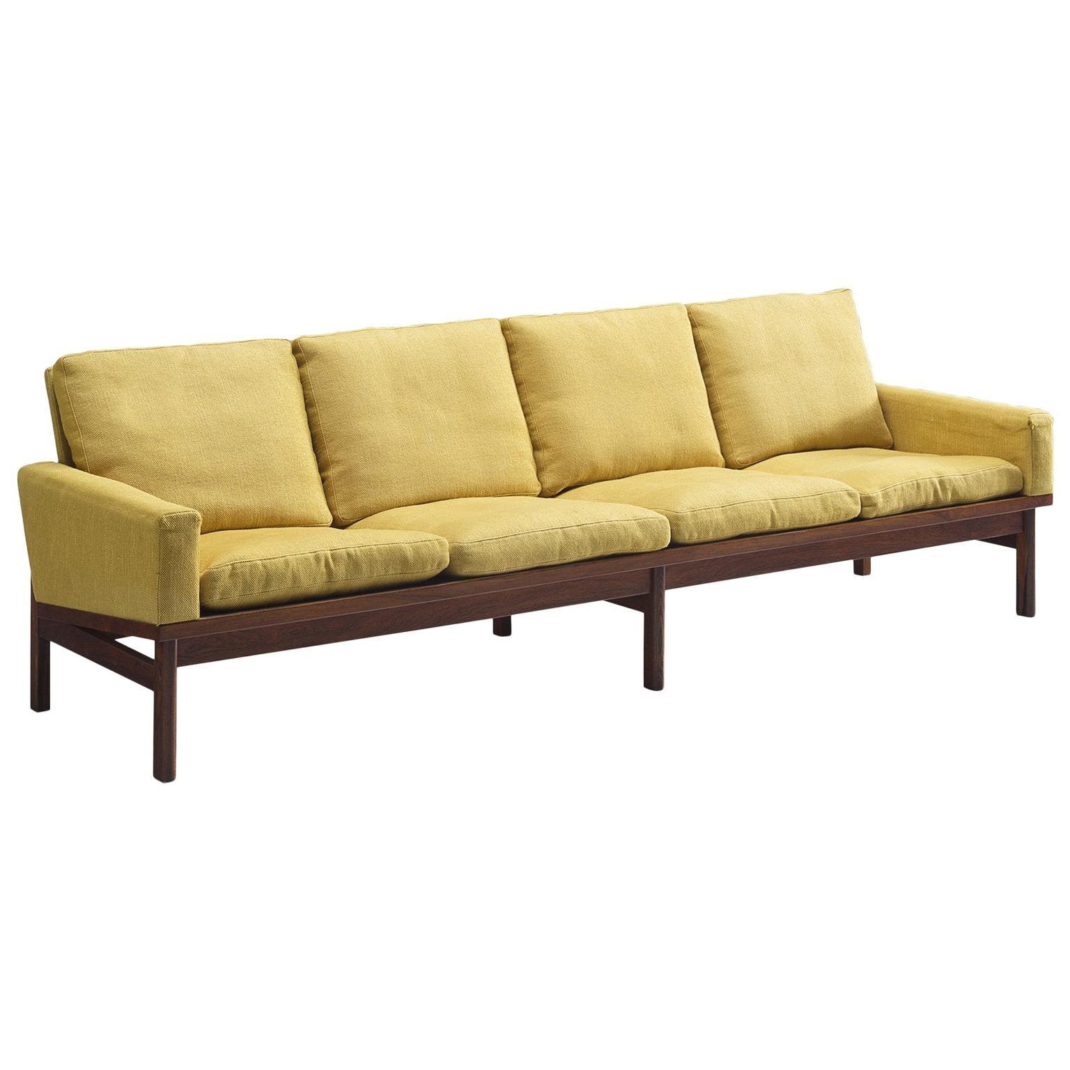 Danish Four-Seat Sofa in Yellow Fabric
