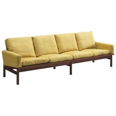 Danish Four-Seat Sofa in Yellow Fabric