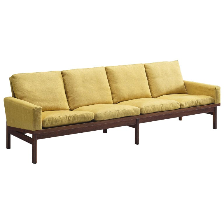 Danish Four-Seat Sofa in Yellow Fabric For Sale