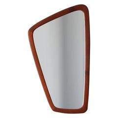 Danish, Free-form Wall Mirror, Teak, Glass, Denmark, 1950s