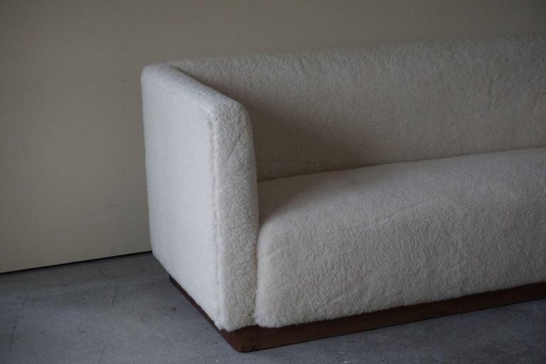 Danish Freestanding Art Deco 3-Seater Sofa Reupholstered in Sheep Skin, 1930s For Sale 6
