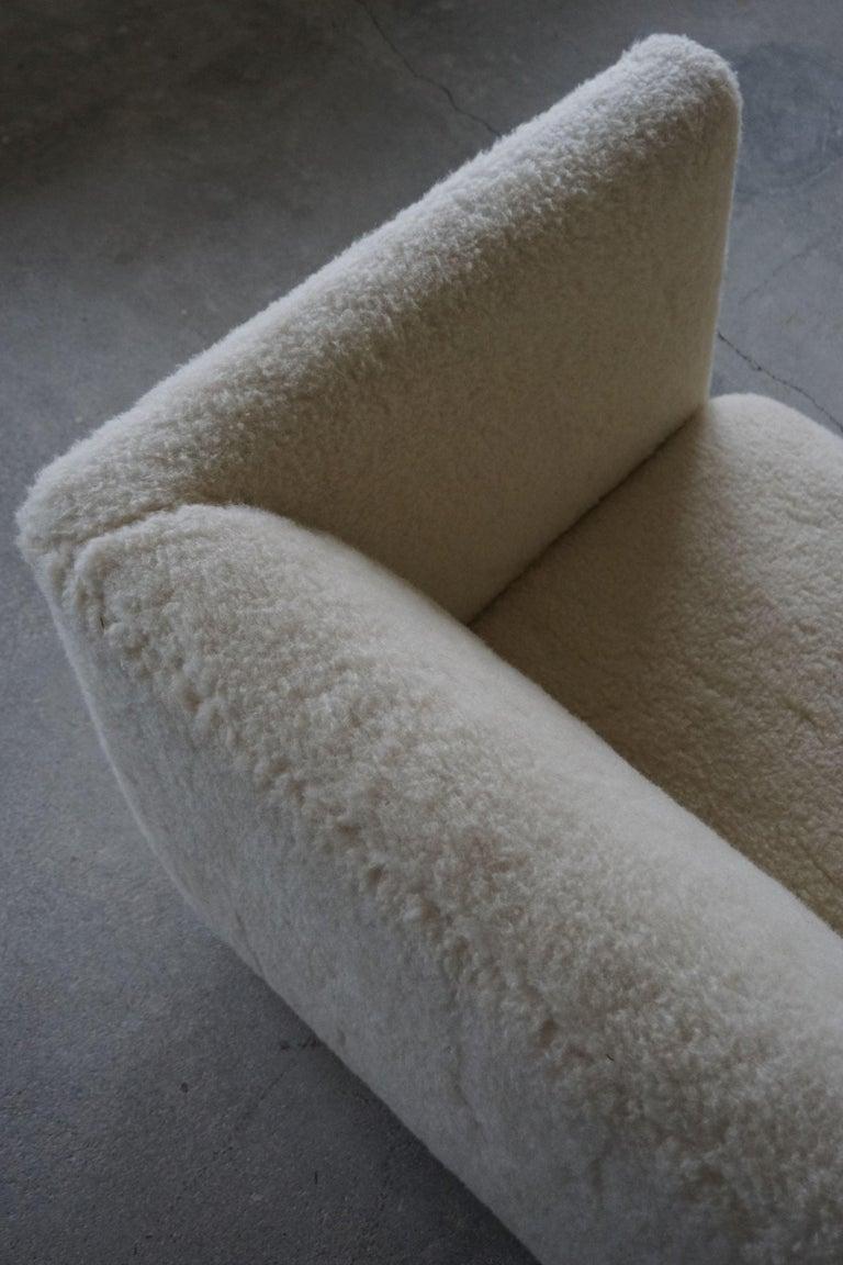 Danish Freestanding Art Deco 3-Seater Sofa Reupholstered in Sheep Skin, 1930s For Sale 9