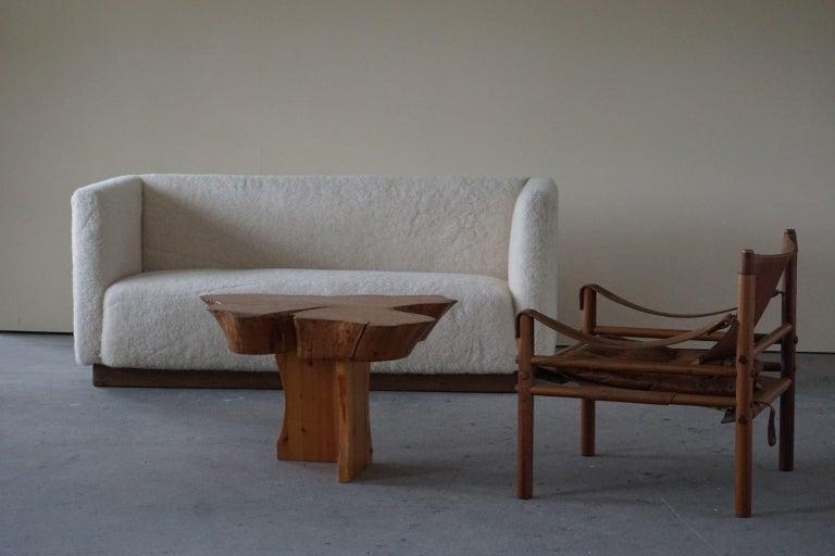 Scandinavian Modern Danish Freestanding Art Deco 3-Seater Sofa Reupholstered in Sheep Skin, 1930s For Sale