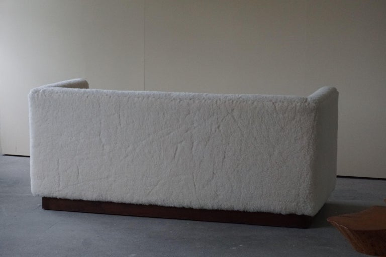 Mid-20th Century Danish Freestanding Art Deco 3-Seater Sofa Reupholstered in Sheep Skin, 1930s For Sale