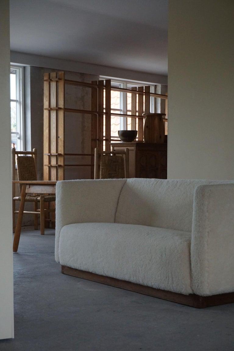 Danish Freestanding Art Deco 3-Seater Sofa Reupholstered in Sheep Skin, 1930s For Sale 2