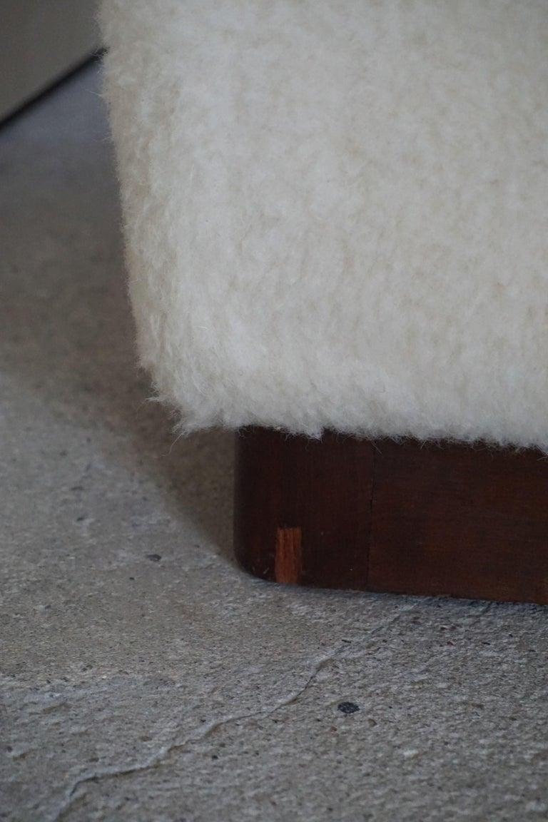 Danish Freestanding Art Deco 3-Seater Sofa Reupholstered in Sheep Skin, 1930s For Sale 3