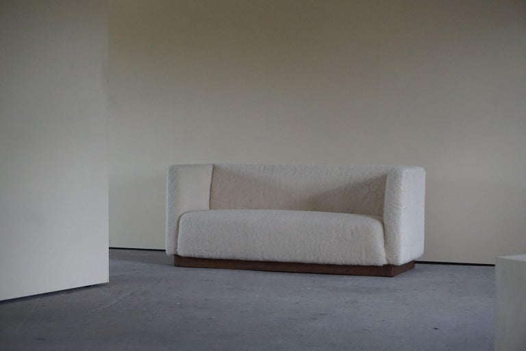 Danish Freestanding Art Deco 3-Seater Sofa Reupholstered in Sheep Skin, 1930s For Sale 4