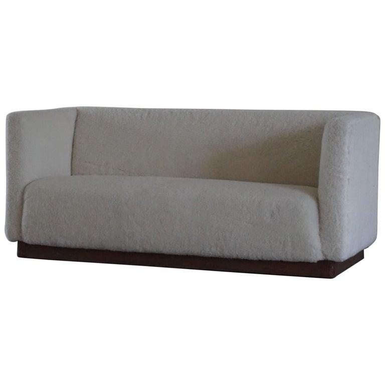 Danish Freestanding Art Deco 3-Seater Sofa Reupholstered in Sheep Skin, 1930s For Sale