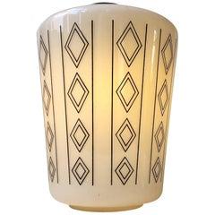 Danish Functionalist Opaline Glass Pendant Lamp, 1950s