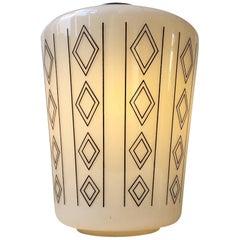 Danish Functionalist Opaline Glass Pendant Lamp, Geometric Decor, 1950s