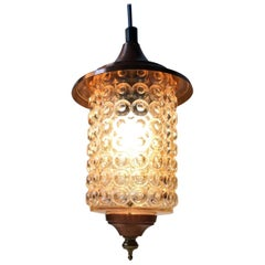 Danish Funkis Ceiling Lamp in Copper, Brass and Bubble Glass, 1950s