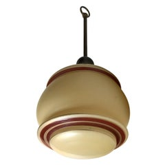 Danish Funkis Pendant Lamp in Pastel Opaline Glass and Brass, 1940s