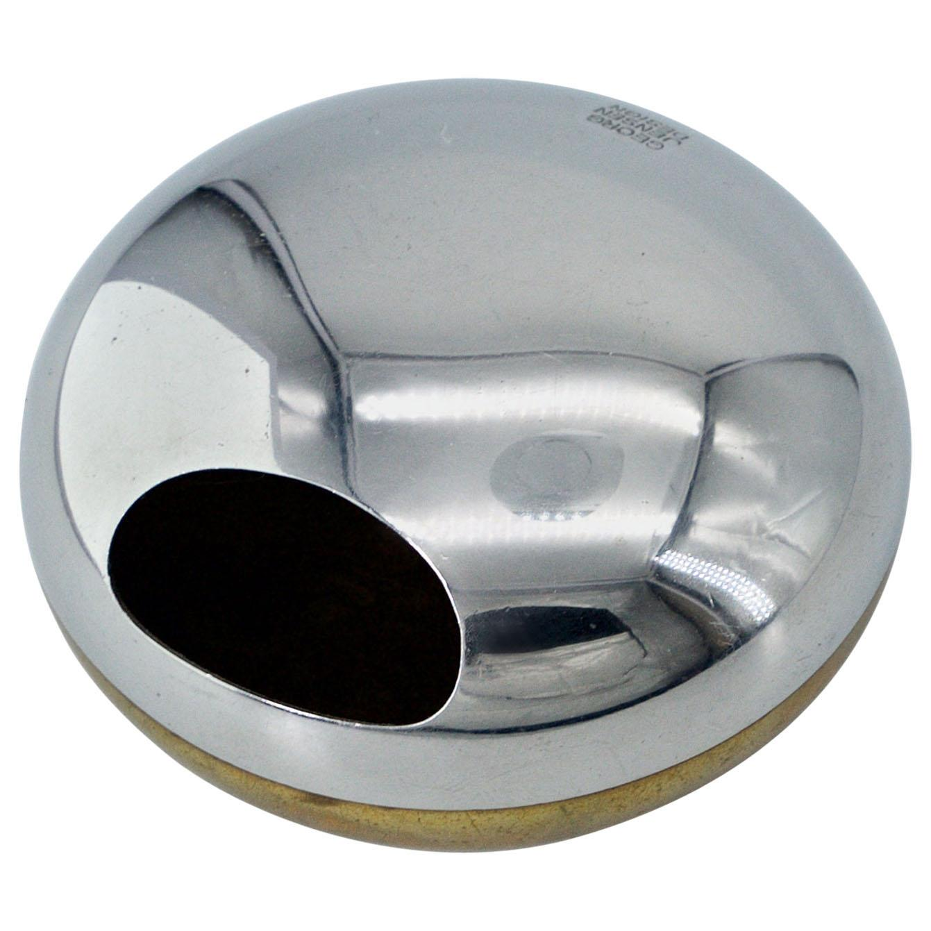 Danish Georg Jensen Orb Egg Sculpture Ashtray Chrome Brass Paperweight Bowl Ball