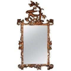 Danish/German 18th Century Giltwood Rococo Mirror with Ho Ho Bird