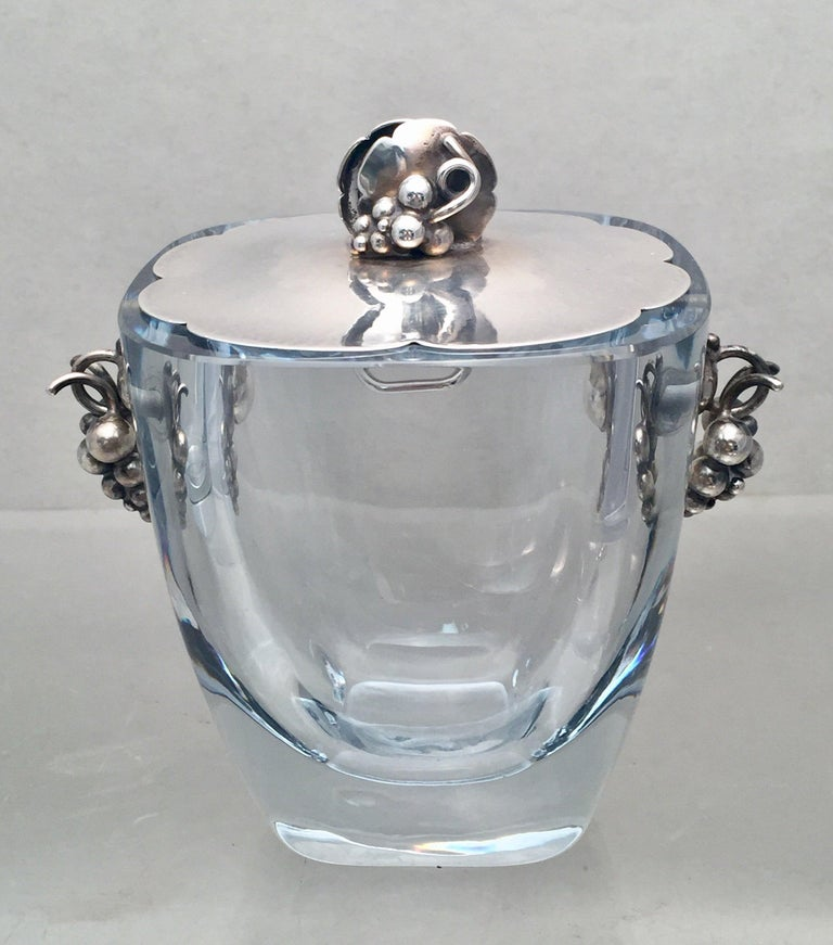 Danish Glass and Sterling Silver Cocktail Shaker Bar Set In Good Condition For Sale In New York, NY