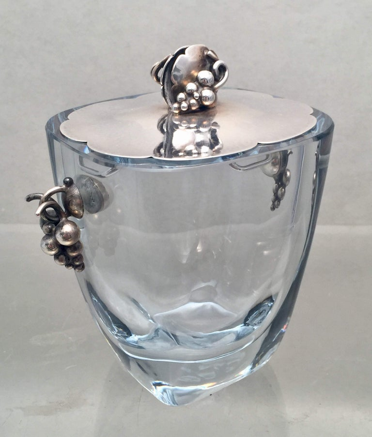 20th Century Danish Glass and Sterling Silver Cocktail Shaker Bar Set For Sale