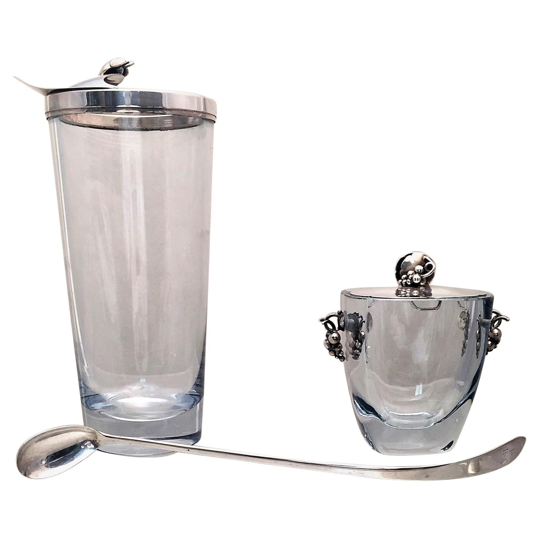 Danish Glass and Sterling Silver Cocktail Shaker Bar Set