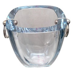 Danish Glass and Sterling Silver Ice Bucket for Bar Set