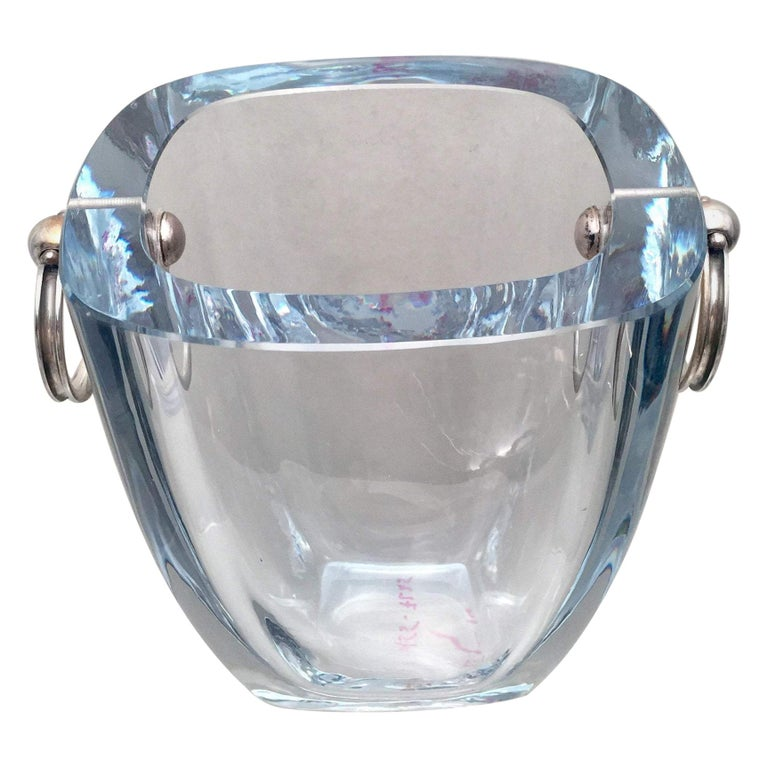 Danish Glass and Sterling Silver Ice Bucket for Bar Set For Sale