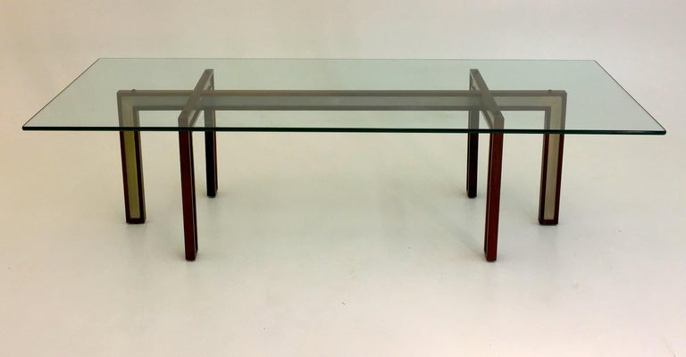 Mid-Century Modern Danish Glass Coffee Table by Henning Korch with Rosewood and Aluminum Frame For Sale