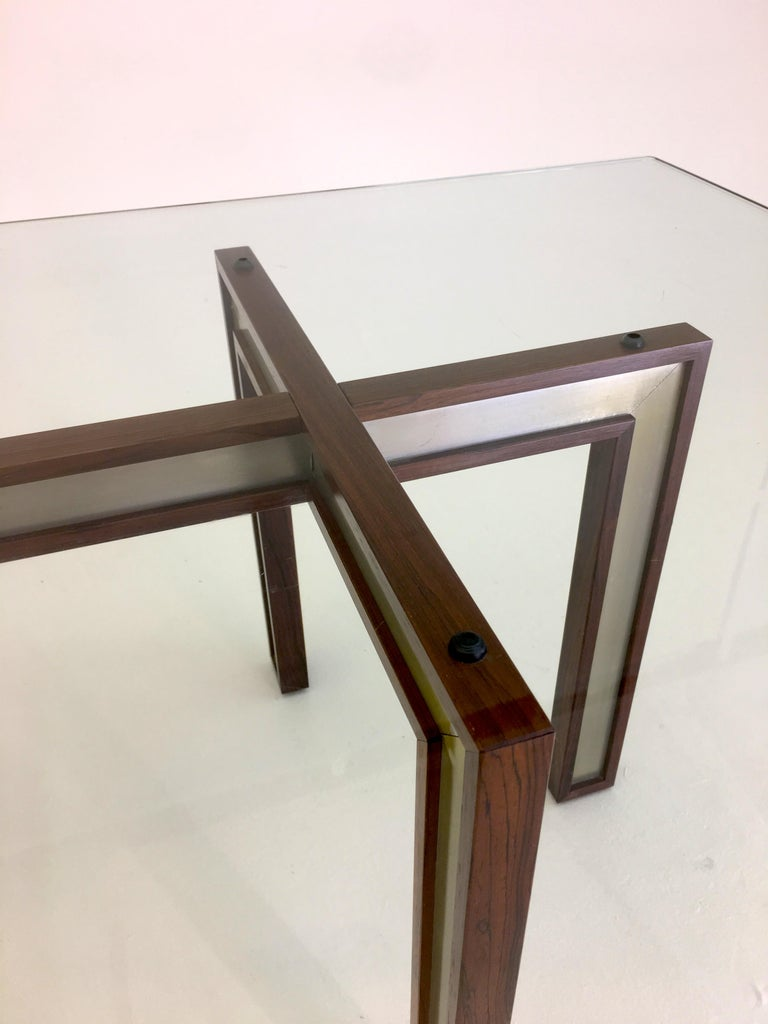 Mid-20th Century Danish Glass Coffee Table by Henning Korch with Rosewood and Aluminum Frame For Sale
